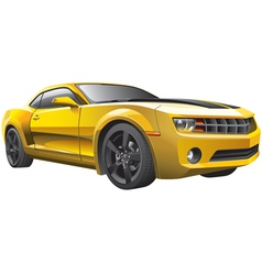 yellow muscle car vector image