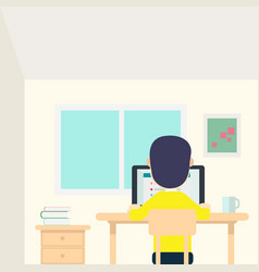 Young man work in his room with laptop and cup vector