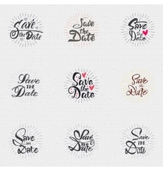 Save the date - calligraphic lettering badge label vector