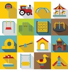 Playground icons set flat style vector image
