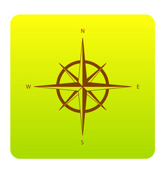 wind rose sign brown icon at green-yellow vector image