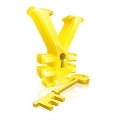Yen key lock concept vector