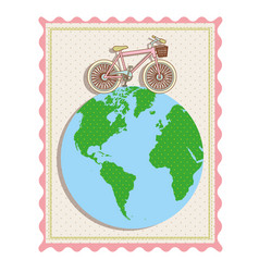 Color pastel frame with bicycle over the world map vector