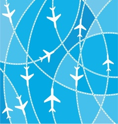 Airplane destination routes vector image