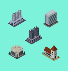 Isometric urban set of office water storage vector