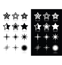 Stars icons with shadow on black and white backgro vector image