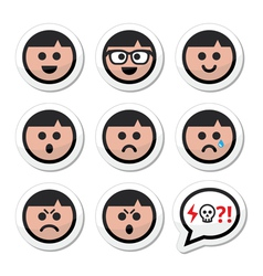 Man boy faces avatar icons set vector