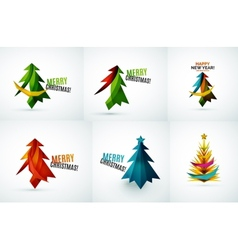 Set of christmas tree geometric designs vector
