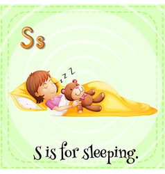 A letter s for sleeping vector