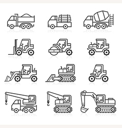 Construction truck icon set vector
