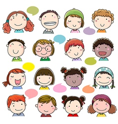 Hand drawn children faces set vector image