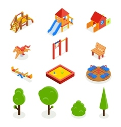Kids isometric 3d playground icon set vector