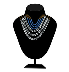 Necklaces of pearls and blue stones vector