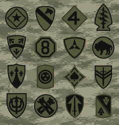 Military camouflage emblem patch set in green vector