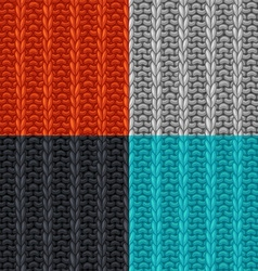 Set of seamless patterns in knitting style vector