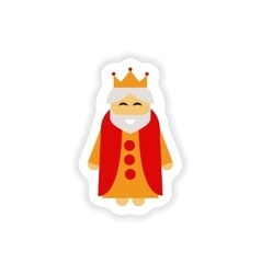 Paper sticker on white background king cartoon vector