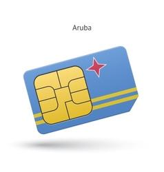 Aruba mobile phone sim card with flag vector