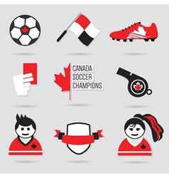 Canada soccer icon set vector
