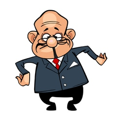 cartoon character the director bald man in a suit vector image vector image