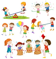 Children playing different games vector image vector image