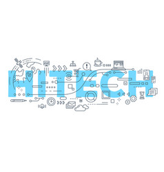 creative of hitech word lettering vector image vector image