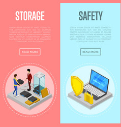 Data cloud storage safety isometric posters vector