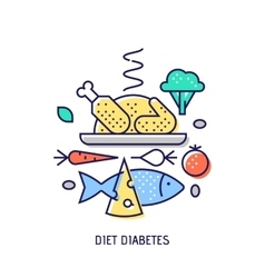 Diet diabets thin line icon vector