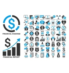 Dollar finances flat icons with captions vector