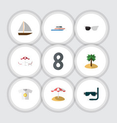 Flat icon beach set of boat coconut parasol and vector