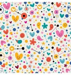 Funky cute cartoon retro note book paper pattern vector image vector image