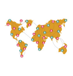 global social network connection with map pointers vector image