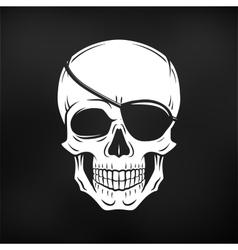 Human evil skull jolly roger with eyepatch vector