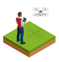 Isometric man with drone quadrocopter remote vector