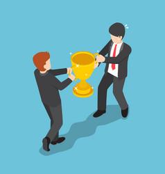 isometric two businessmen fighting for winner vector image vector image