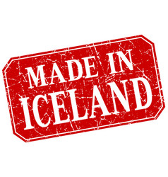 Made in iceland red square grunge stamp vector