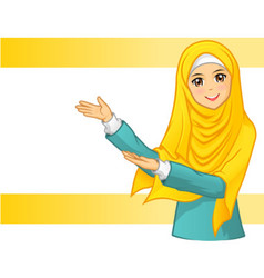 Muslim woman wearing yellow veil with welcome arms vector
