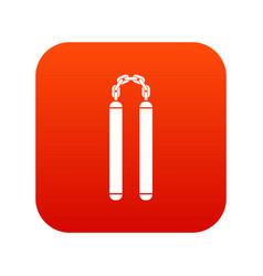 nunchaku icon digital red vector image