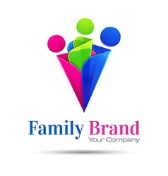 People connect logo communication family template vector