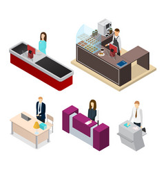 Receptionists set isometric view vector