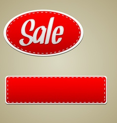 Red sale stitched label vector image vector image