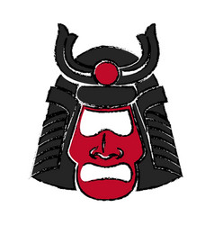 Samurai face mask japanese warrior image vector