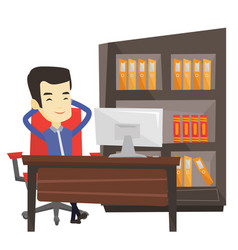 Satisfied business man relaxing in office vector