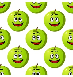 Seamless pattern of green apples fruits vector image