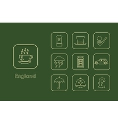 Set of england simple icons vector