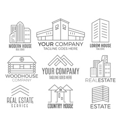 Set of house logo designs real estate icon vector