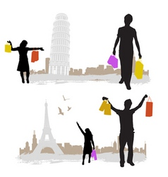 shopping with city tower vector image vector image