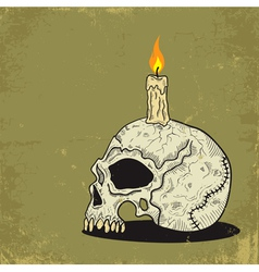 skull with candle vector image vector image