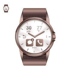 Smart watch circle in realistic style vector