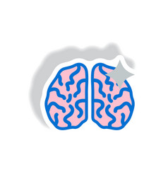 Stylish icon in paper sticker style brain stroke vector