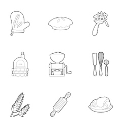 Sweet pastries icons set outline style vector
